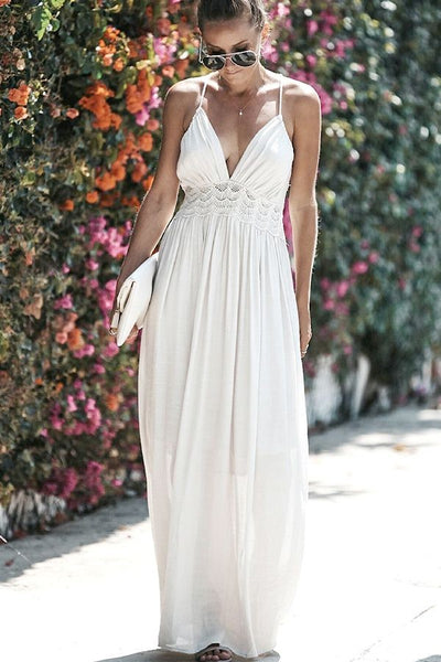 Bohemian White Lace Maxi Dress