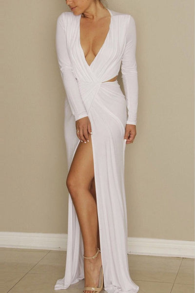 Gracious White Long Sleeve Cut Out Maxi Dress