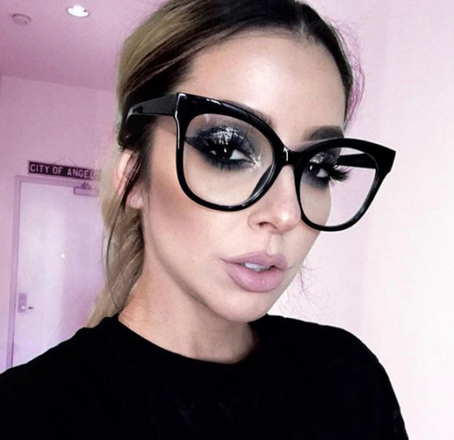 Black Oversized Cat Eye Designer Style Glasses