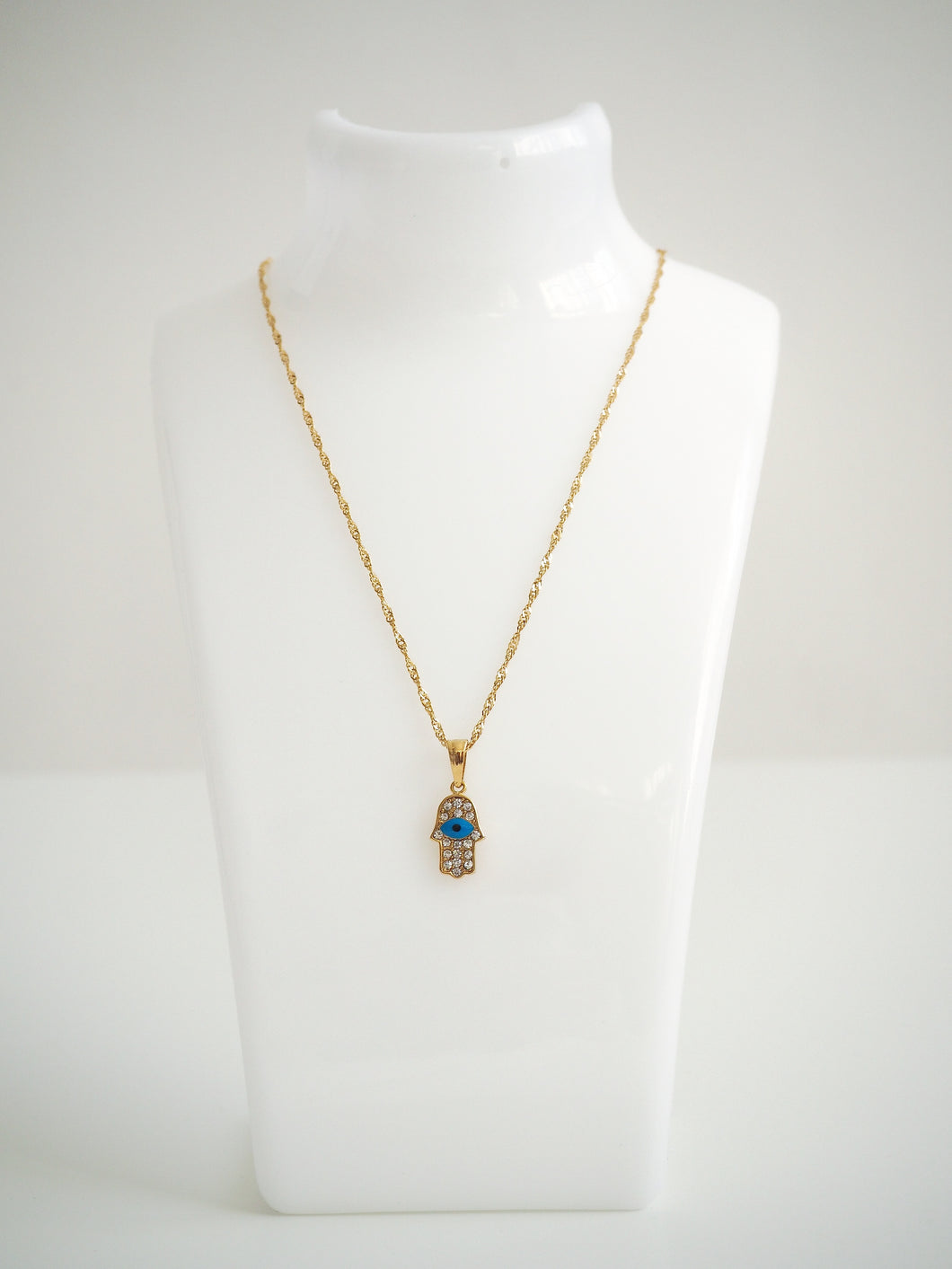 GOLD HAMSA EYE NECKLACE