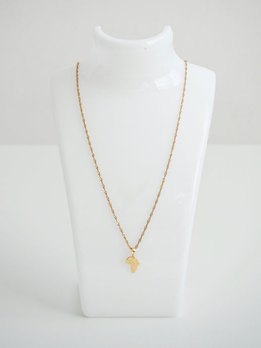 GOLD MINI AFRICA MAP NECKLACE