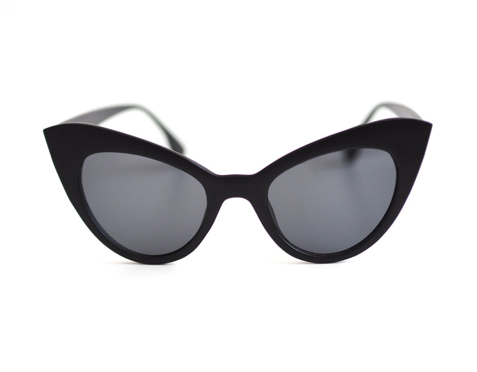 Vintage Cat Eye Sunglasses - Matte Black