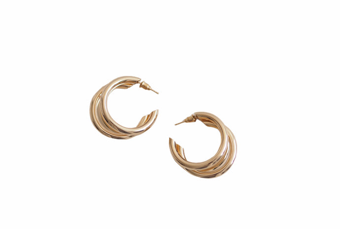 Triple Hoop Earrings Gold
