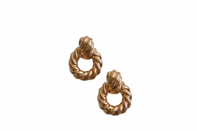 Vintage Twist Earrings - Gold