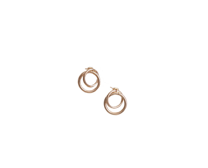 GOLD MINI DOUBLE CIRCLE EARRINGS  BY ZEENA