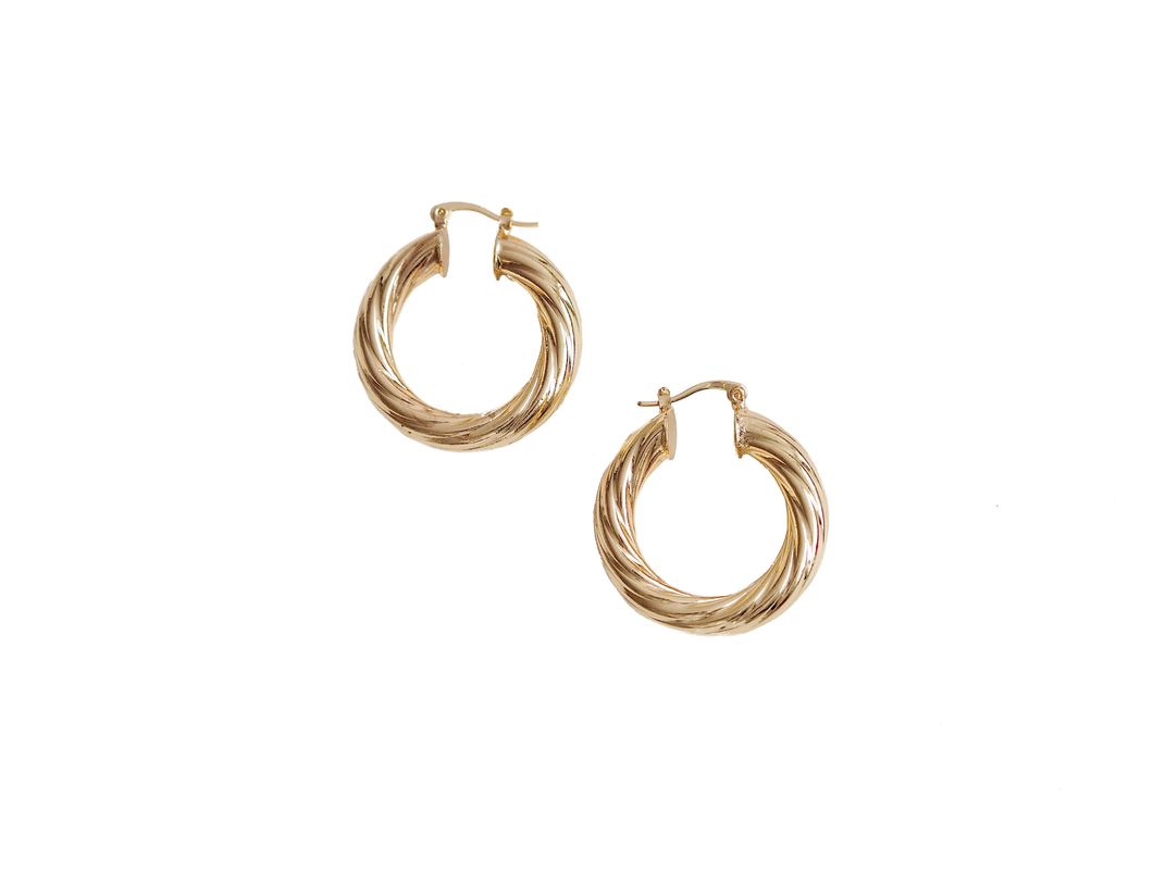 GOLD CREOLE TWISTED EARRINGS