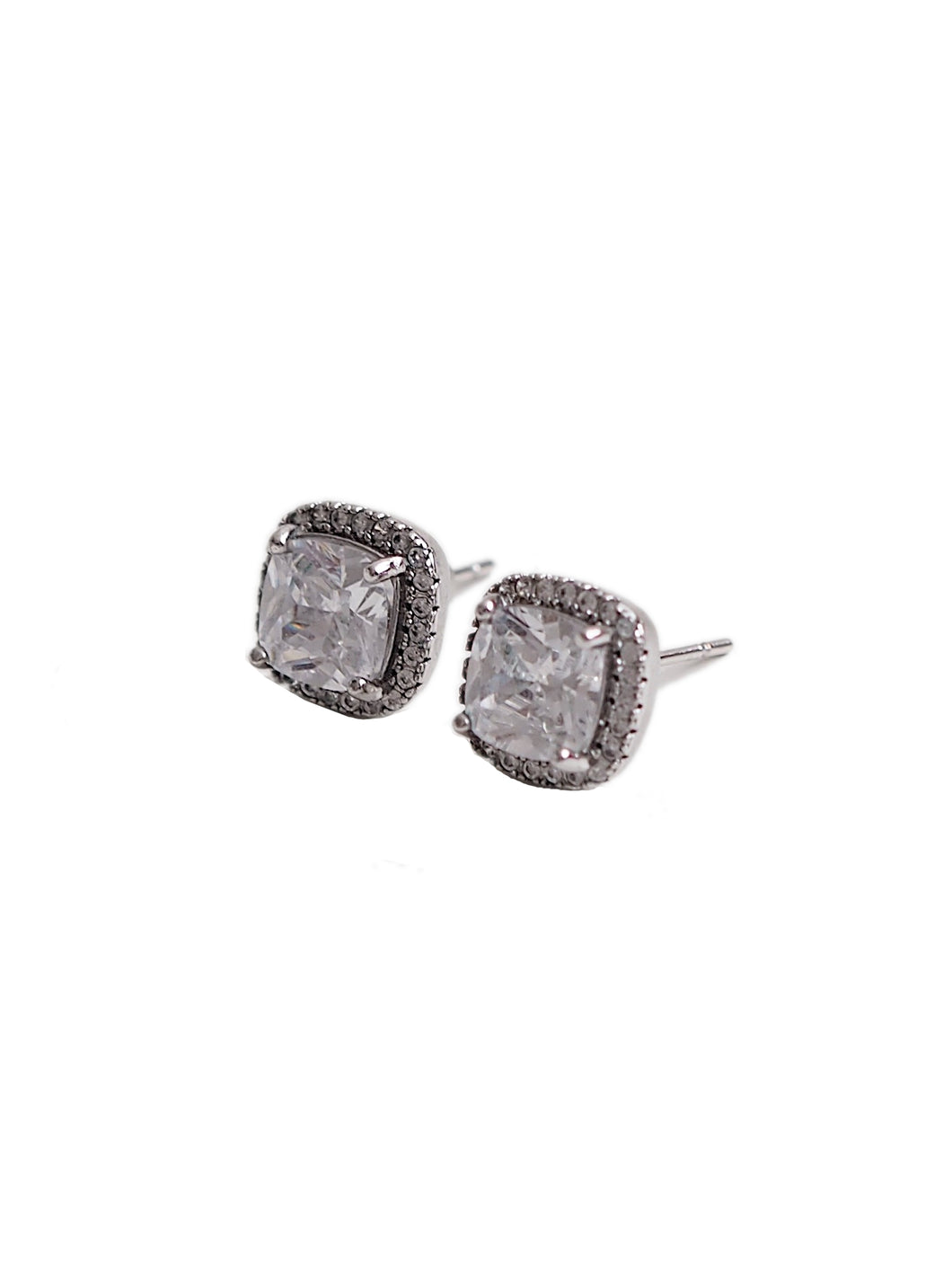 SILVER CUSHIONED CZ STUD EARRINGS