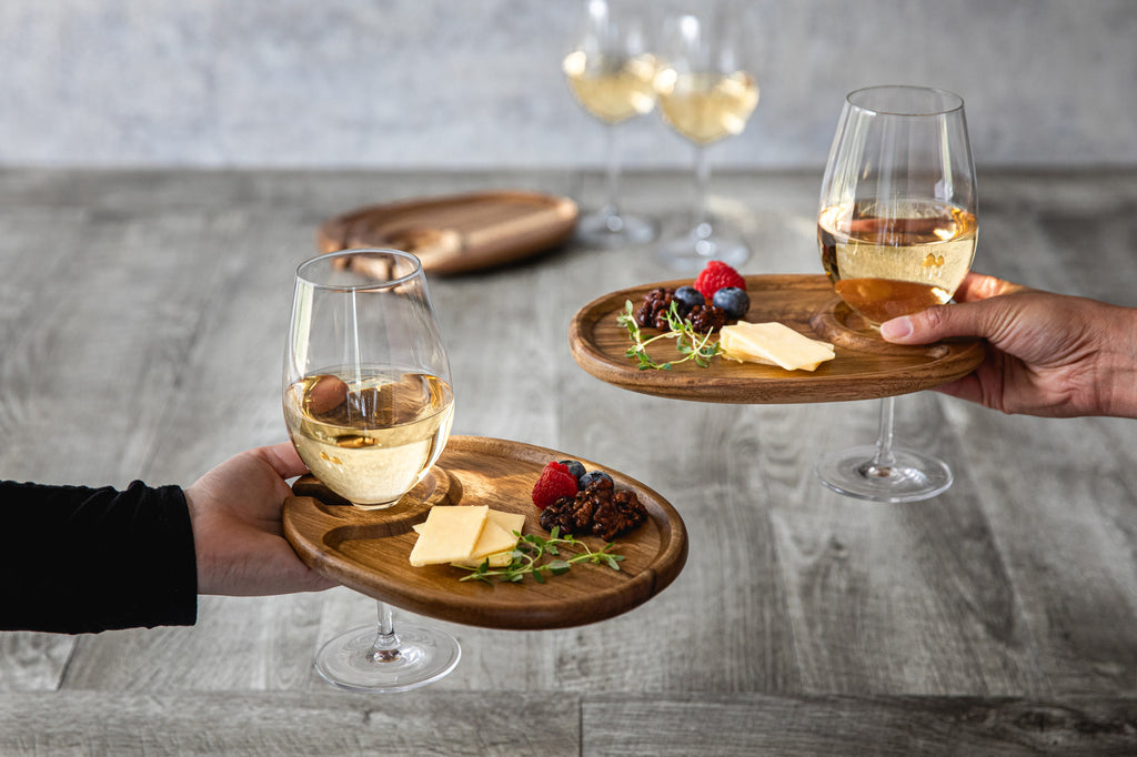 Acacia Wood Wine Appetizer Plate Set of 4
