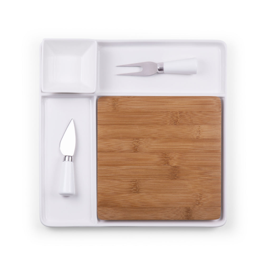Peninsula Cutting Board & Serving Tray (Bamboo & White Ceramic)