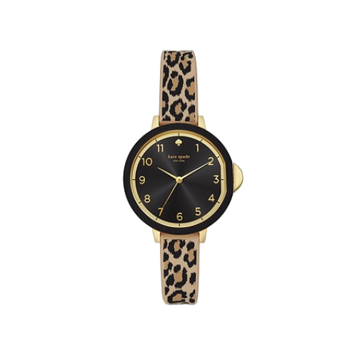 Kate Spade New York Park Row Women's Three-Hand Leopard Print Silicone Watch