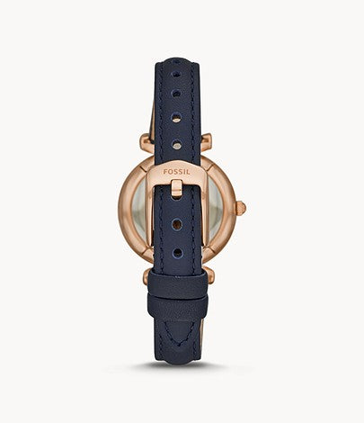 Fossil Women's Carlie Mini Three-Hand Navy Leather Watch
