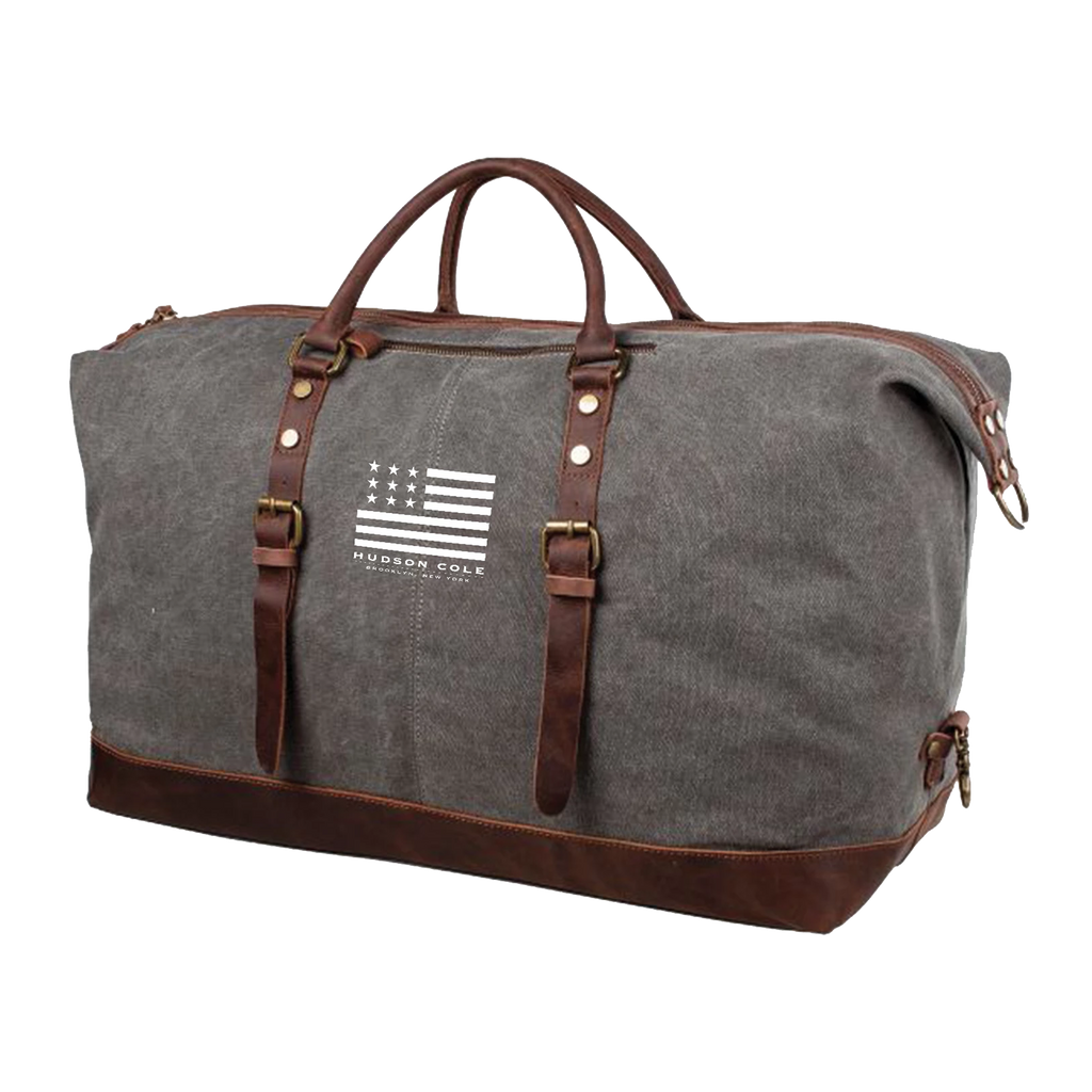 Hudson Cole Oversized Canvas Duffle with Leather Trim