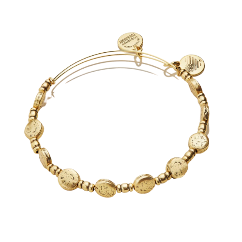 Alex and Ani Coin Metal Beaded Expandable Bangle Rafaelian Gold