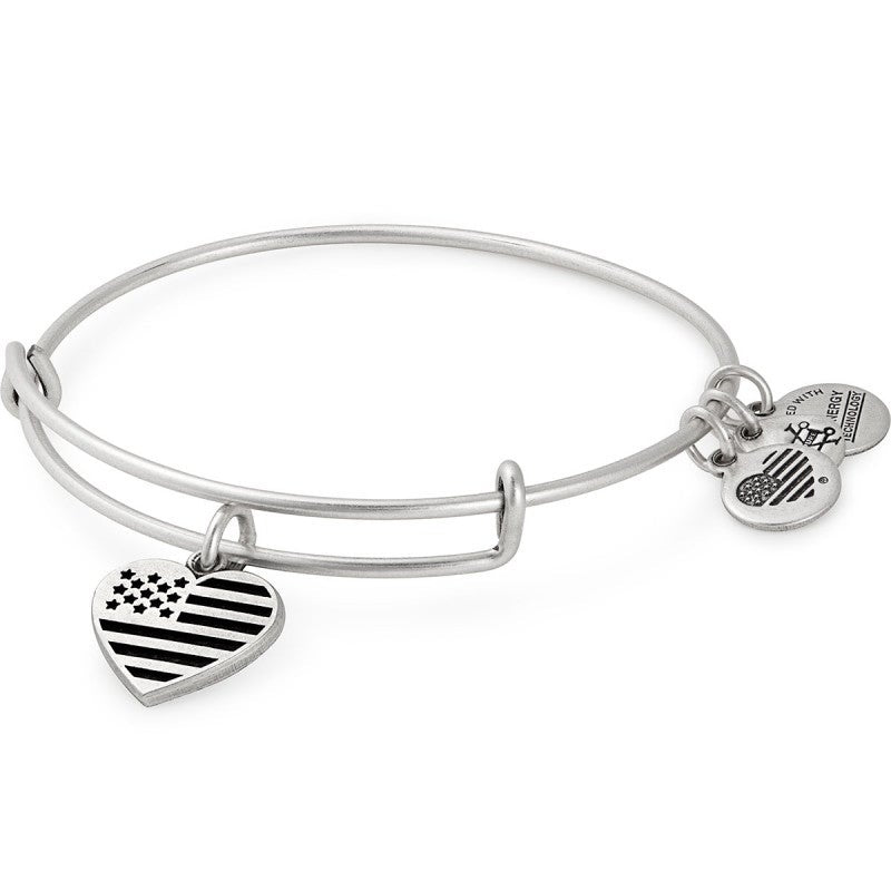 Alex and Ani Heart Flag Charm Bangle Rafaelian Silver