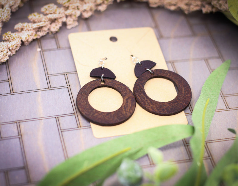 Leather Circle Drop Earrings