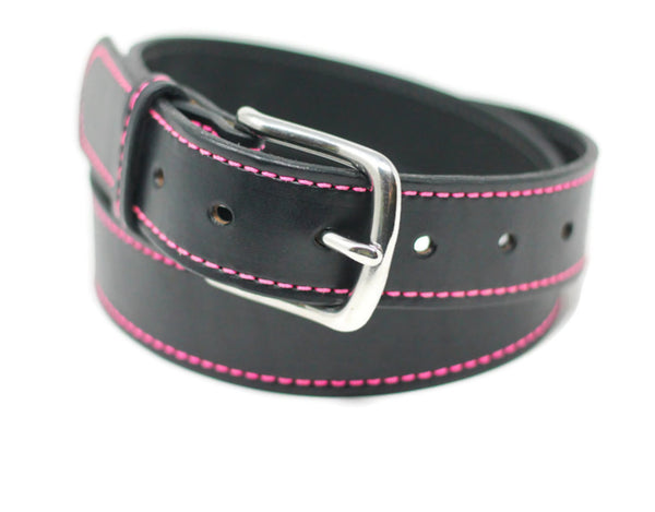 Black Stitched Belt - Pink Stitching