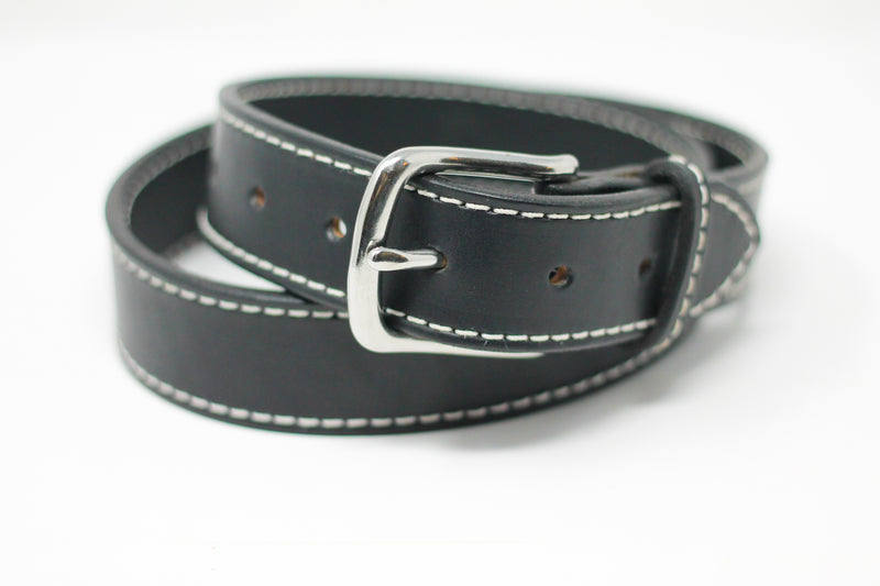 Black Stitched Belt - White Stitching