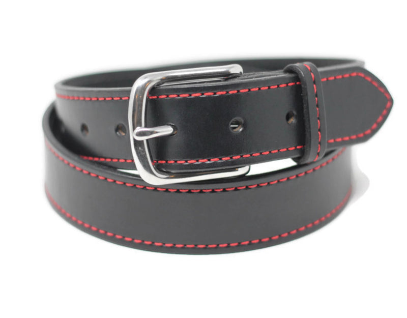 Black Stitched Belt - Red Stitching