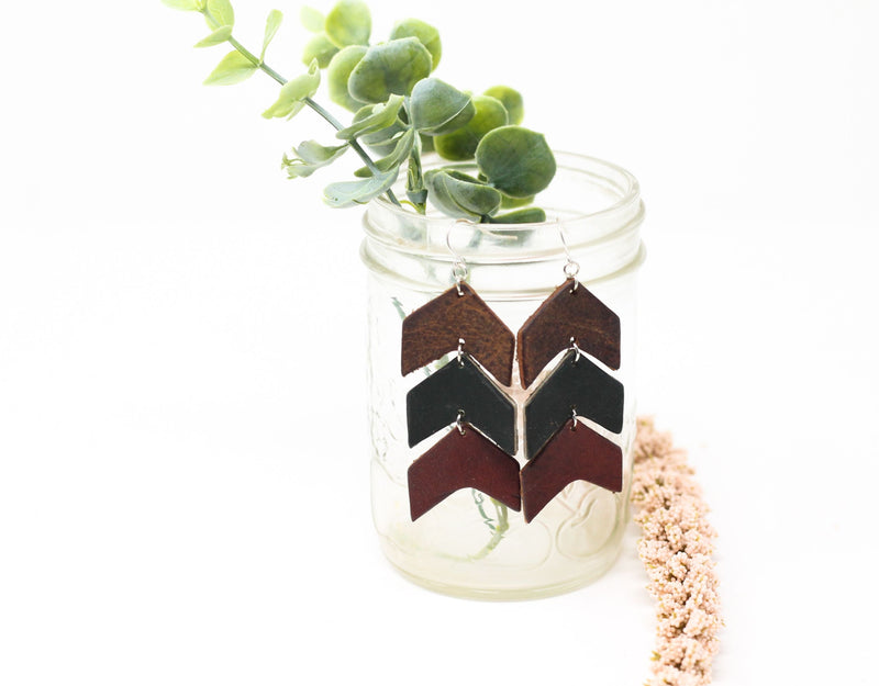 Leather Chevron Earrings