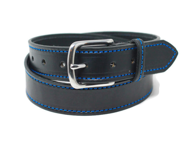 Black Stitched Belt - Blue Stitching