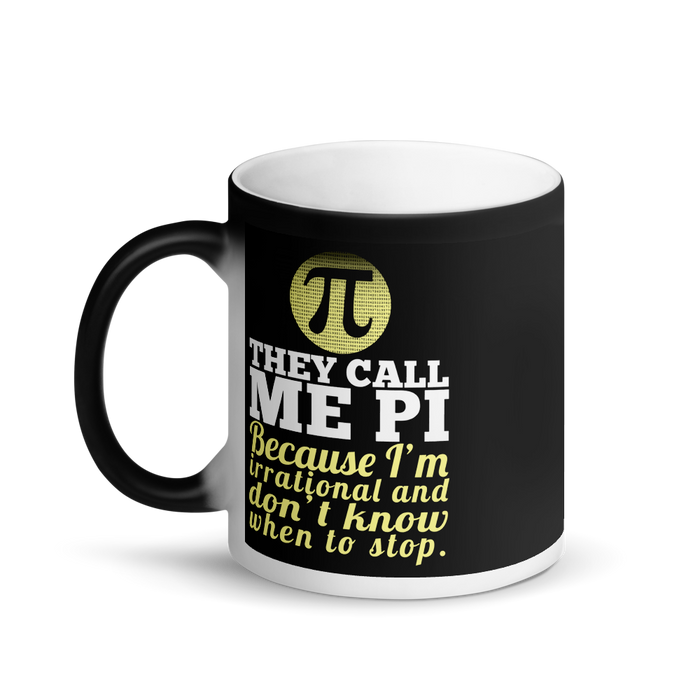 Call Me Pi Matte Black Magic Mug