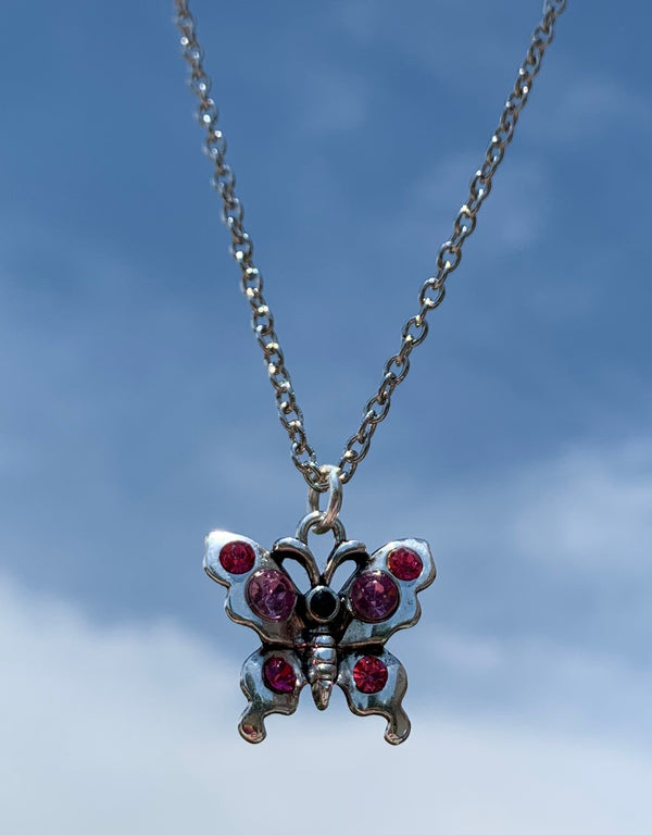 Red Rhinestone Butterfly Necklace