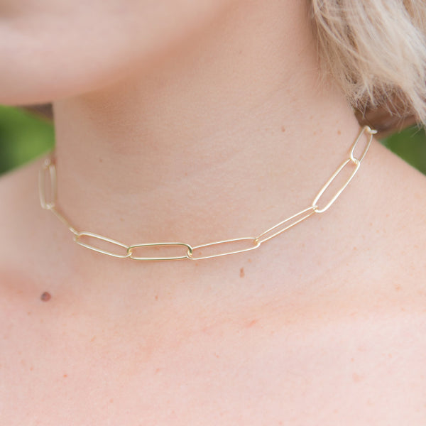 gold link chain necklace, open link chain choker, dainty necklace, layering necklace