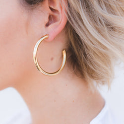 medium size classic gold hoop earrings, thick gold hoop earrings