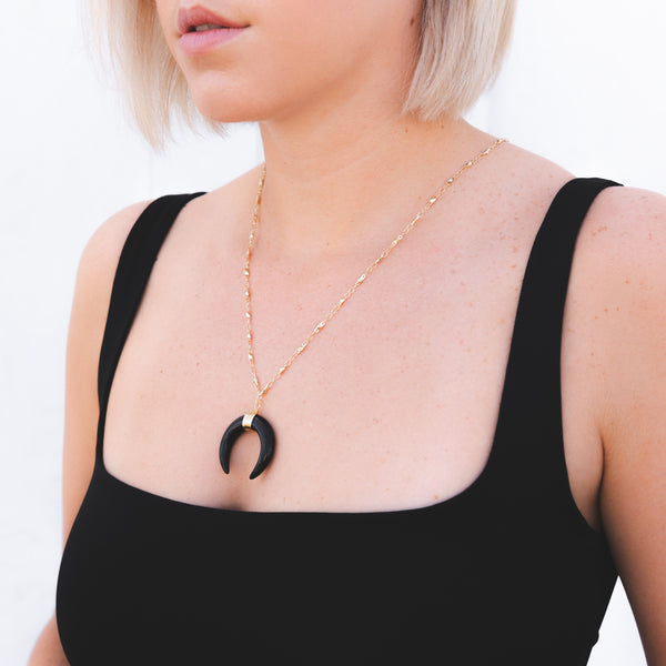 Noir Crescent Moon Long Charm Necklace