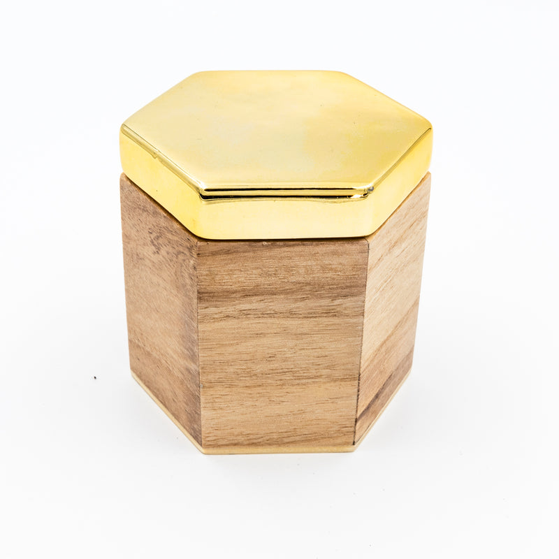 Hexagon Wood Container with Gold Lid