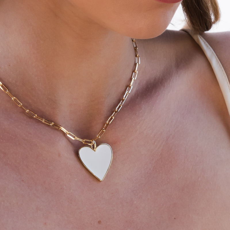 White Heart Necklace Large