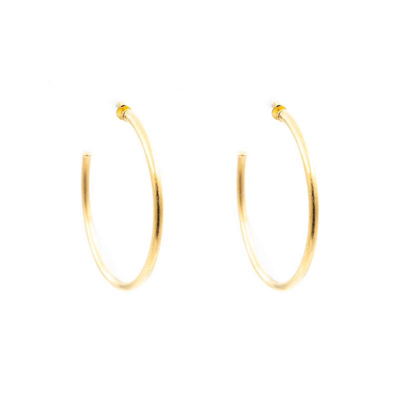 Brushed Metal Hoop Earrings