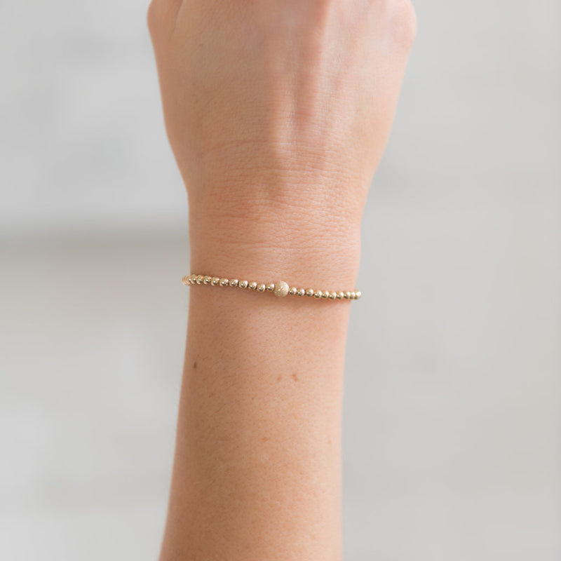 gold bead stackable bracelet