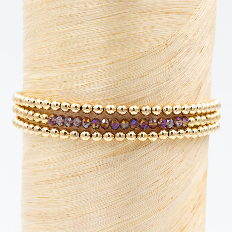 red and purple multi toned crystals, gold bead bracelet, stackable bracelets