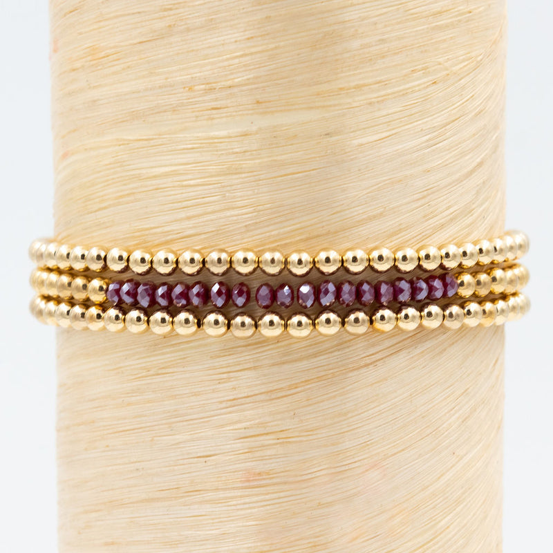 Wine colored crystal bracelet, bead bracelet, stackable bracelets