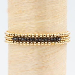 black coated crystal bead bracelet, gold bead barcelet