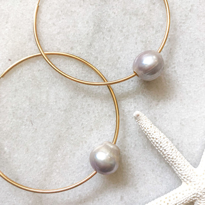 freshwater pearl earrings, hoop earrings, statement earrings, classic jewelry, handmade jewelry, pearl jewelry