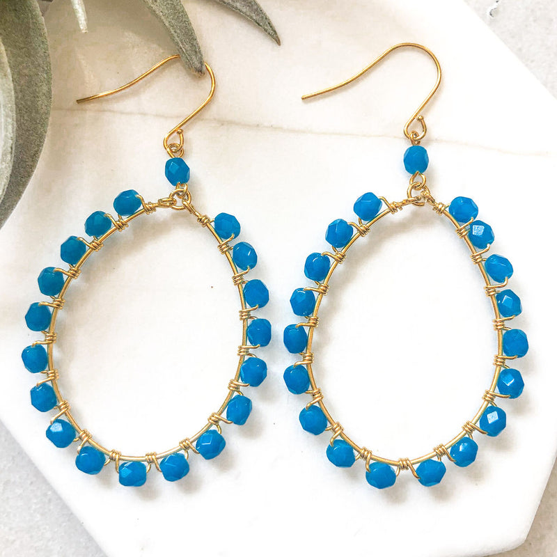 blue crystal earrings, 14k gold plated teardrop hoops, wire wrapped earrings, statement earrings, colorful earrings