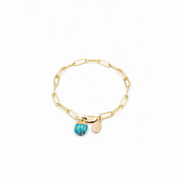 Turquoise Charm Rectangle Link Chain Bracelet