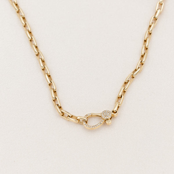 Diamond Clasp Thick Link Chain Necklace