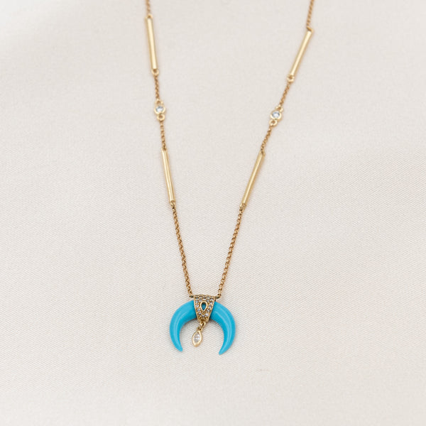 Diamond Turquoise Moon Necklace