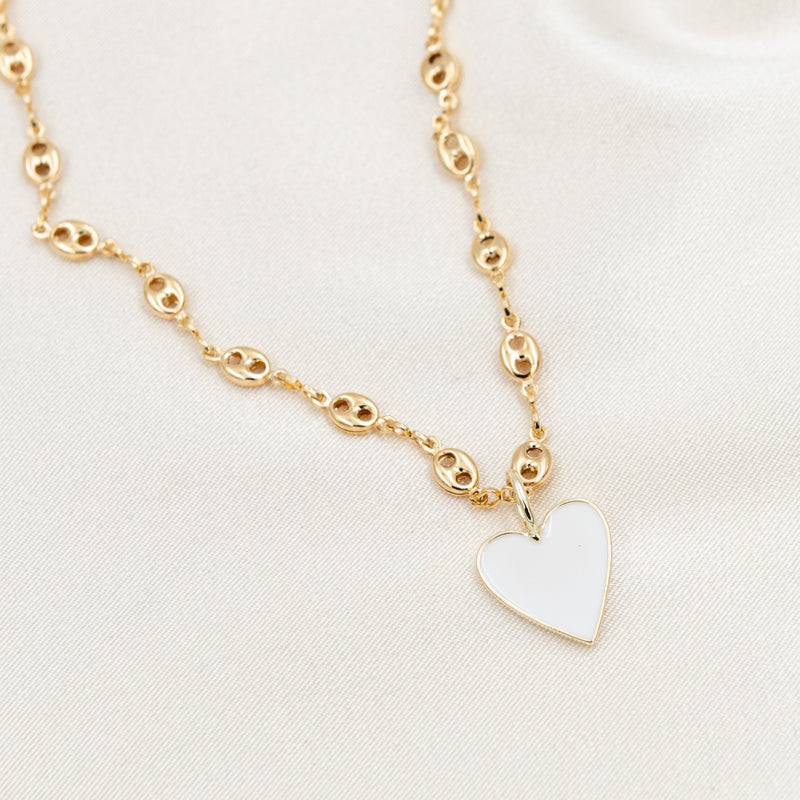 Small Enamel Heart w/ Gucci Chain