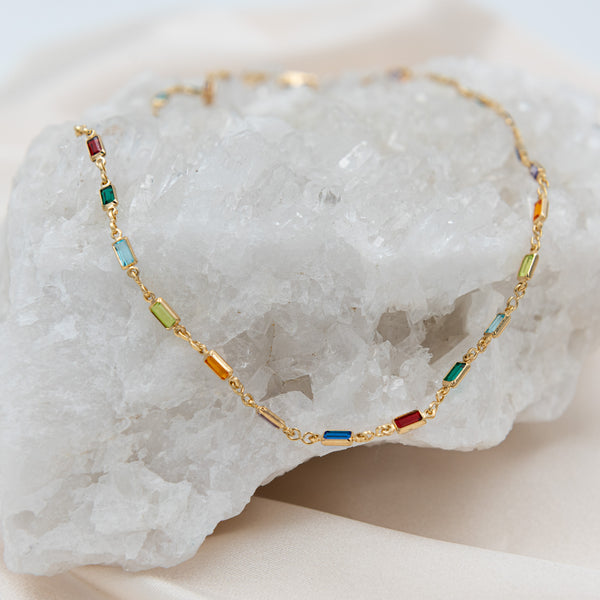 Multi Color Rectangle Stone Necklace