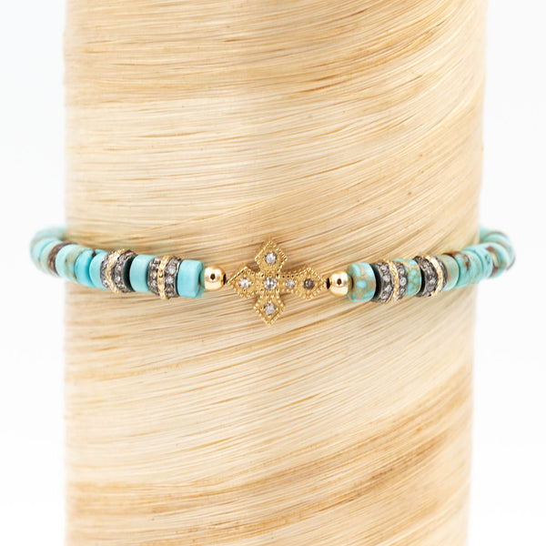 Diamond Cross Turquoise Signature Bracelet