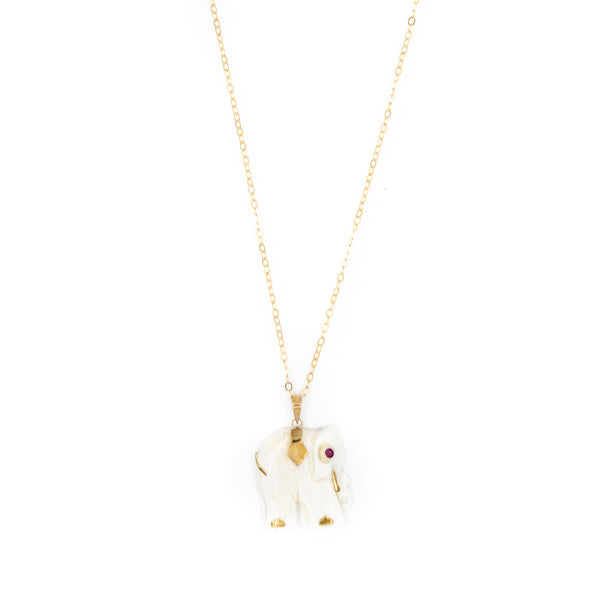 Vintage Elephant Charm Necklace