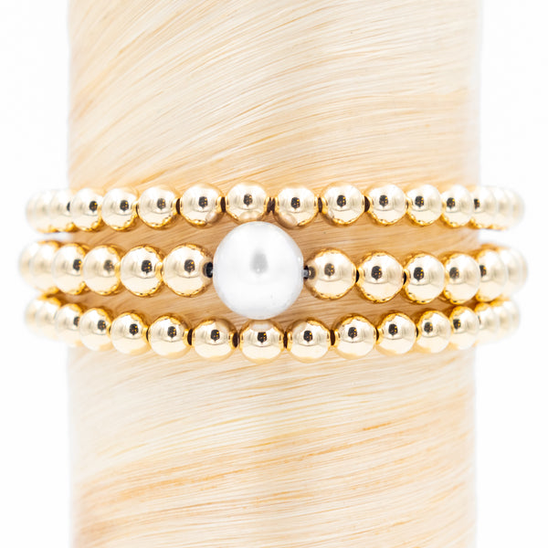 Large Single Pearl Signature Bracelet