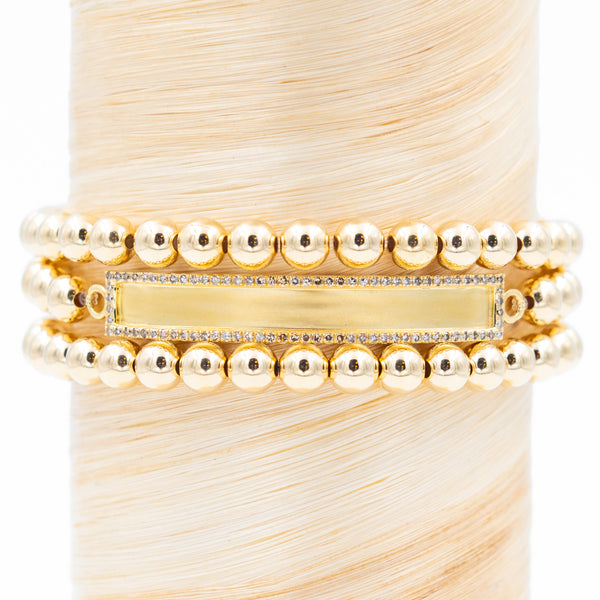 Diamond Frame Gold Bar Signature Bracelet