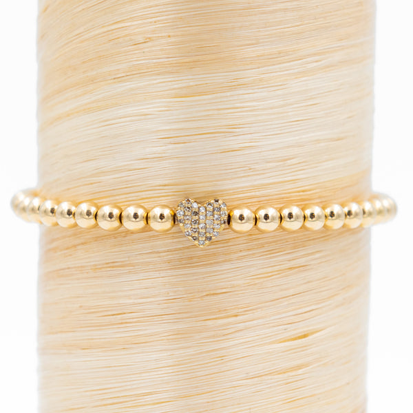 Pave Diamond Heart Signature Bracelet