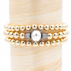 Large Pearl with Pave Diamond Beads Signature Bracelet