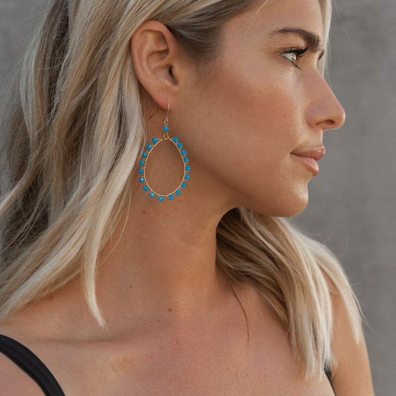 Wire Wrapped Blues Hoops
